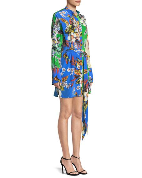 Long-Sleeve Silk Floral Shirtdress