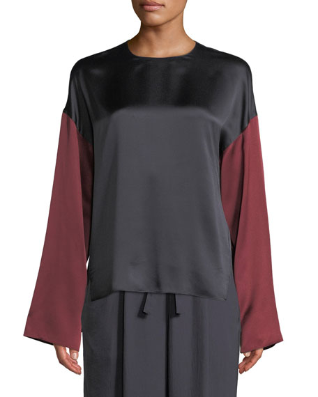 Colorblock Silk Long-Sleeve Blouse