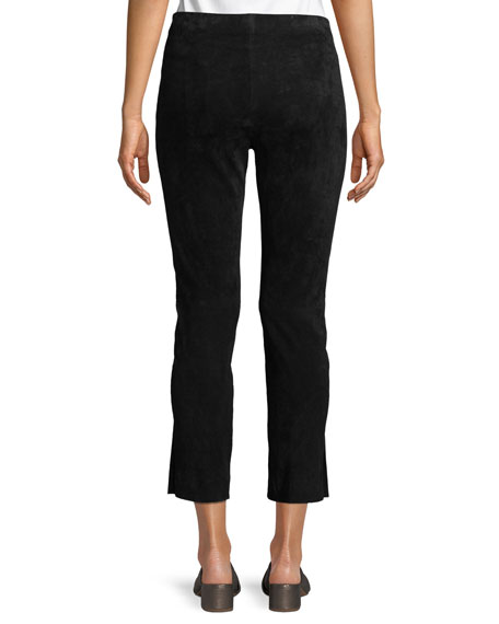 Image 2 of 4: Vince Stretch-Suede Split Hem Crop Pants