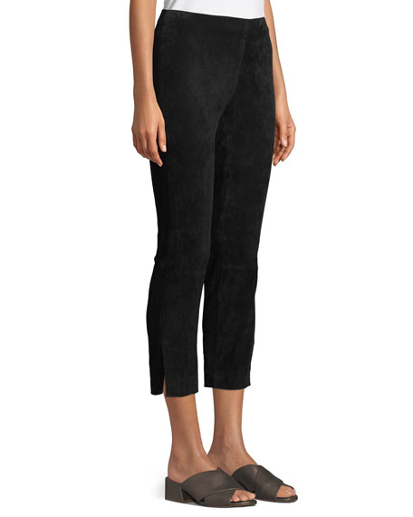 Image 3 of 4: Vince Stretch-Suede Split Hem Crop Pants