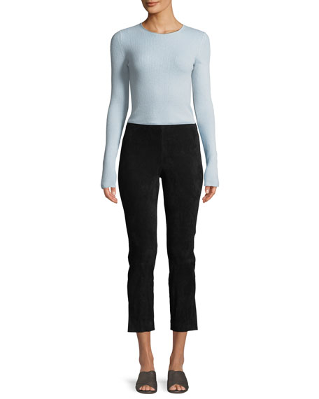 Image 4 of 4: Vince Stretch-Suede Split Hem Crop Pants