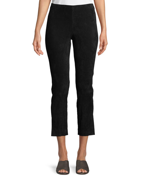Image 1 of 4: Vince Stretch-Suede Split Hem Crop Pants