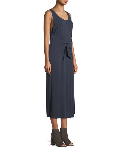 Sleeveless Tie-Waist Midi Dress