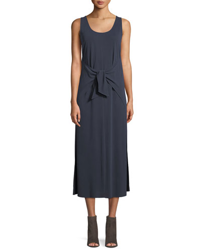 Sleeveless Tie-Waist Midi Dress