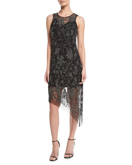 Danica Sleeveless Dress w/ Sparkle Overlay