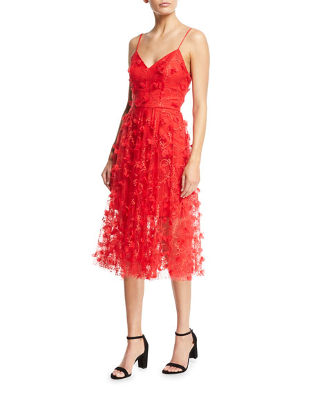 Milly Joselyn Sleeveless Embroidered 3D Tulle Dress