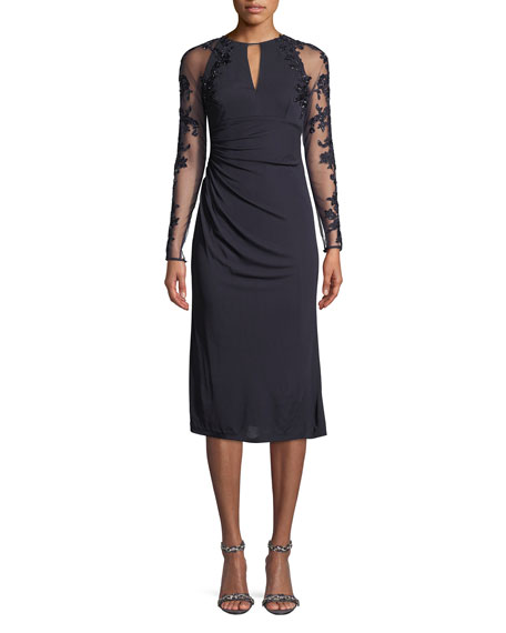 DAVID MEISTER Stretch Jersey Beaded-Sleeve Cocktail Dress in Navy