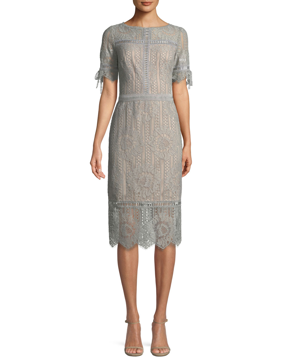 Tadashi Shoji Short-Sleeve Lace Sheath Dress | Neiman Marcus