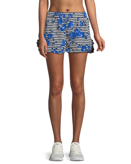 hibiscus-print striped frill active shorts