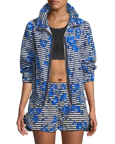 hibiscus-print striped zip-front active jacket