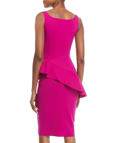 Cicci Sleeveless Diagonal Ruffle Cocktail Dress