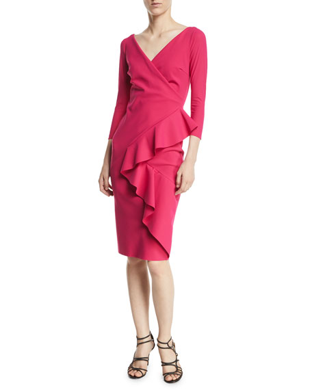 Ceren Faux-Wrap Ruffle Cocktail Dress