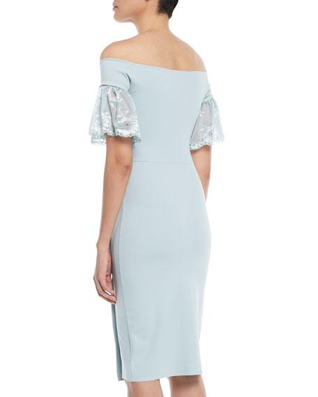 Farideh Lace-Sleeve Sheath Dress