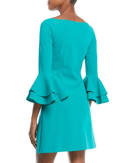 Natalia Double Bell-Sleeve Mini Dress