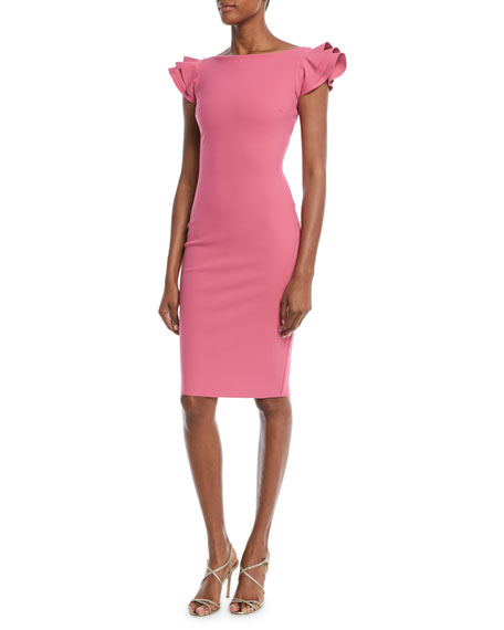 Cedric Ruffle-Sleeve Sheath Dress