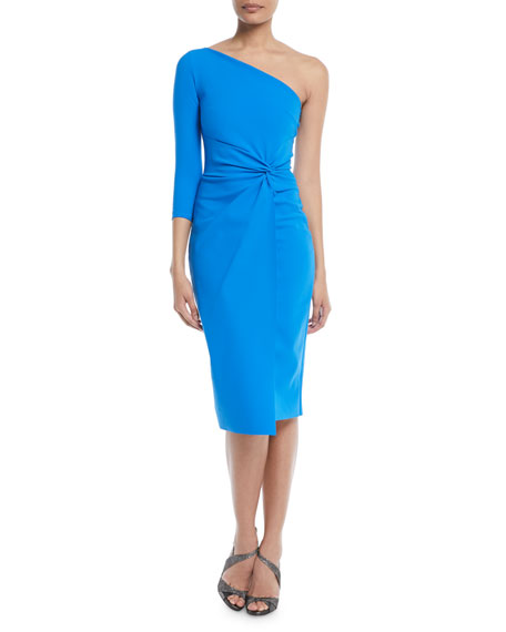 Tristin One-Sleeve Knot-Waist Cocktail Dress