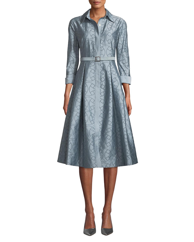 Rickie Freeman for Teri Jon EYELET TAFFETA SHIRT DRESS