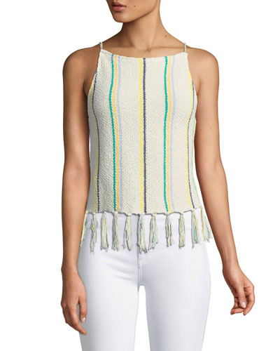 Cecille Sleeveless Striped Crochet Top w/ Tassel Hem