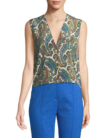 Paisley-Print Silk Sleeveless Top