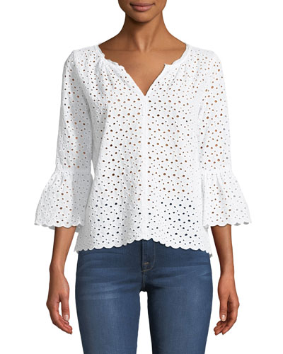 Saidee Eyelet Bell-Sleeve Blouse