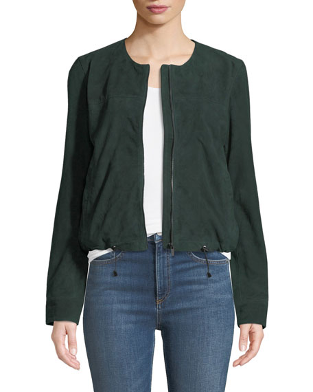 Neiman Marcus Leather Collection Suede Collarless Zip-Front