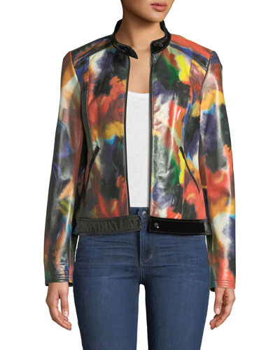 Rainbow-Print Leather Moto Jacket
