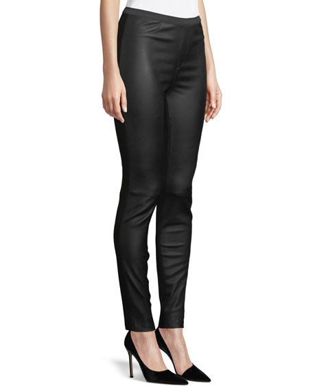 Ponte-Back Leather Leggings