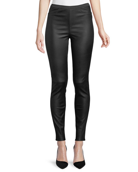 Neiman Marcus Leather Collection Ponte-Back Leather Leggings