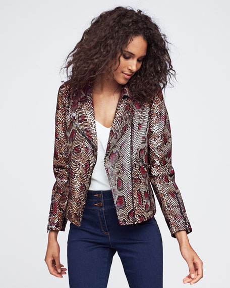 Neiman Marcus Leather Collection Snake-Print Genuine Lamb Leather Moto Jacket
