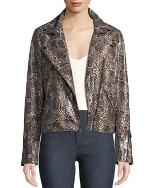 9dae7fbab09 Neiman Marcus Leather Collection Snake-Print Genuine Lamb Leather Moto  Jacket