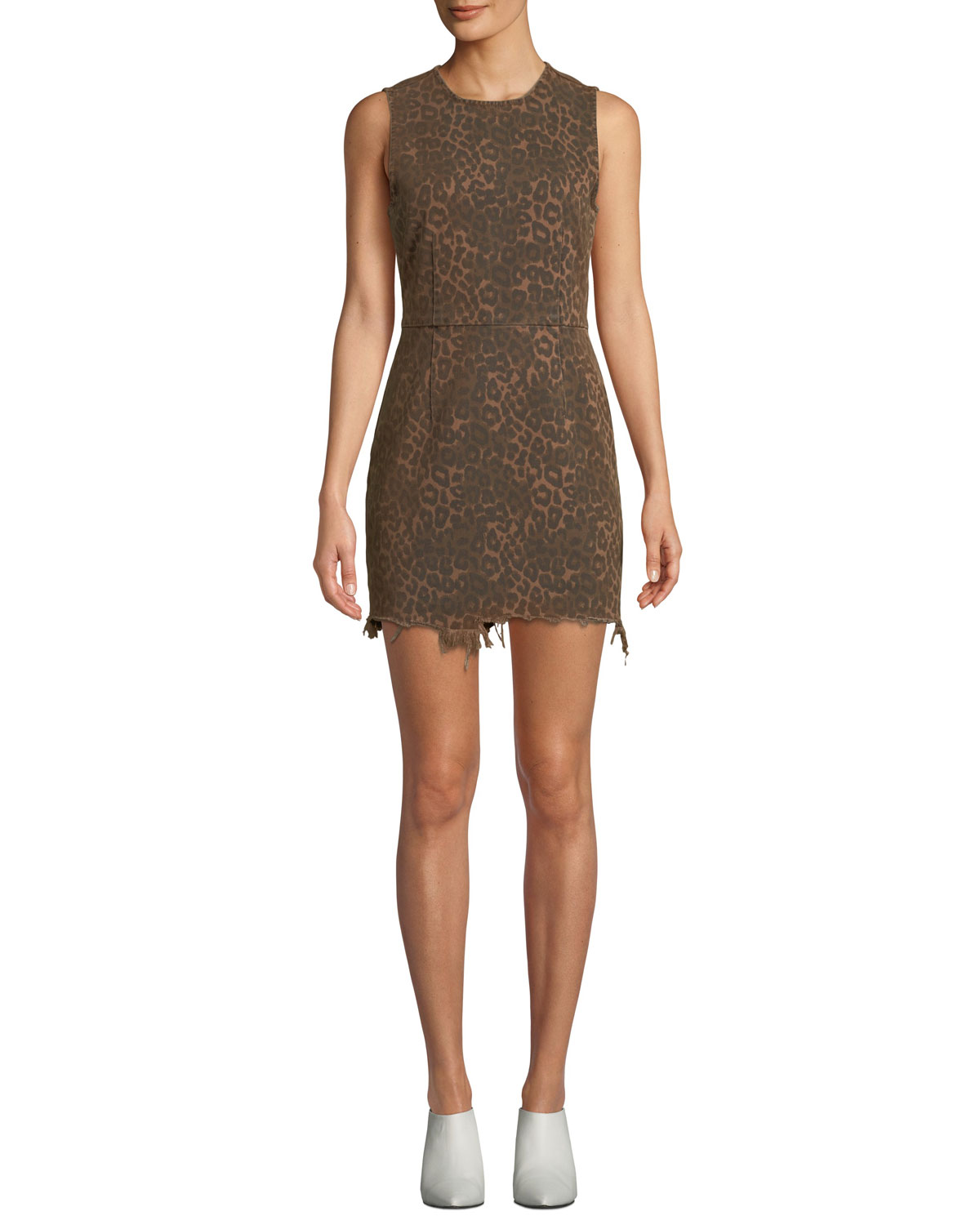 021da30ed378ed alexanderwang.t Frayed Leopard-Print Sleeveless Mini Dress