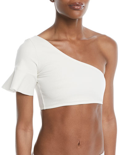 One-Shoulder Flounce Crop Swim Top