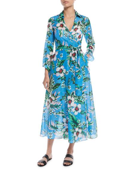 Diane von Furstenberg Long-Sleeve Collared Floral Wrap Coverup Dress