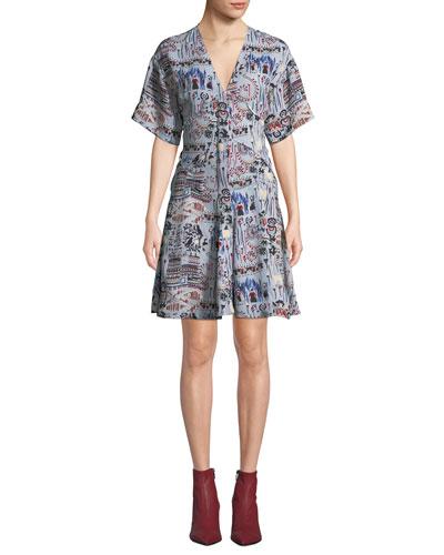 Printed V-Neck Short-Sleeve Dress