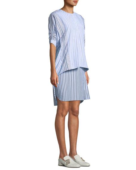 Striped Layered 3/4-Sleeve Shirtdress