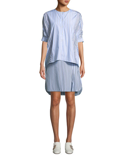 Striped Layered 3/4-Sleeve Shirtdress