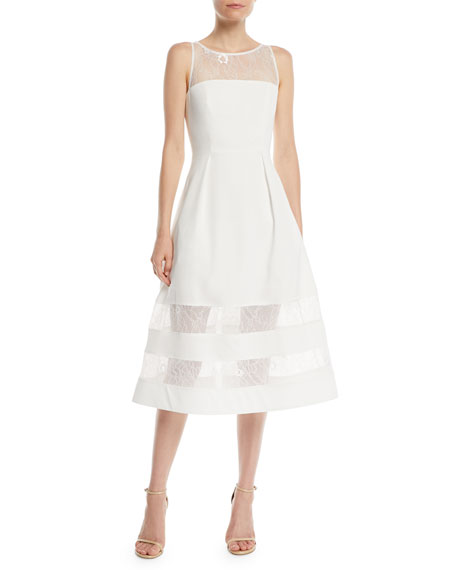 Aidan by Aidan Mattox Crepe & Lace Tiered