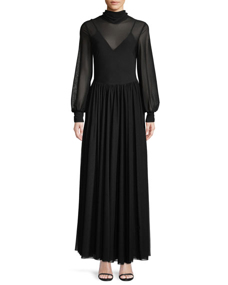 Diane von Furstenberg High-Neck Long-Sleeve Maxi Dress