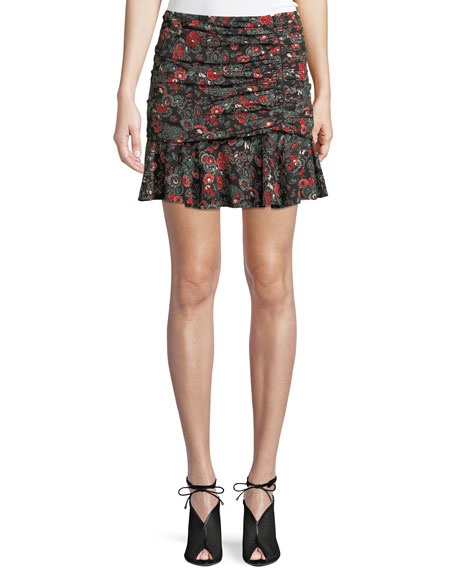 ecaeab71b1a Image 1 of 2  Veronica Beard Noon Floral-Print Ruched Silk Skirt
