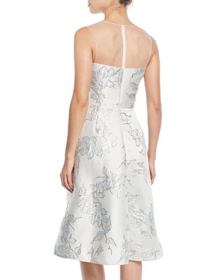 Floral Jacquard Tulle-Yoke Cocktail Dress
