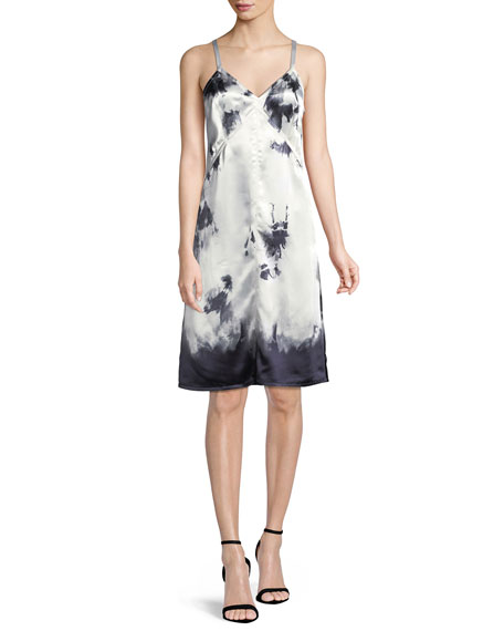 Stain-Print Sleeveless Slip Dress