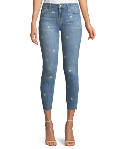 The Icon Cropped Embroidered Skinny Jeans