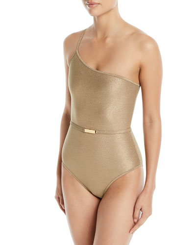 One-Shoulder Belted One-Piece Swimsuit