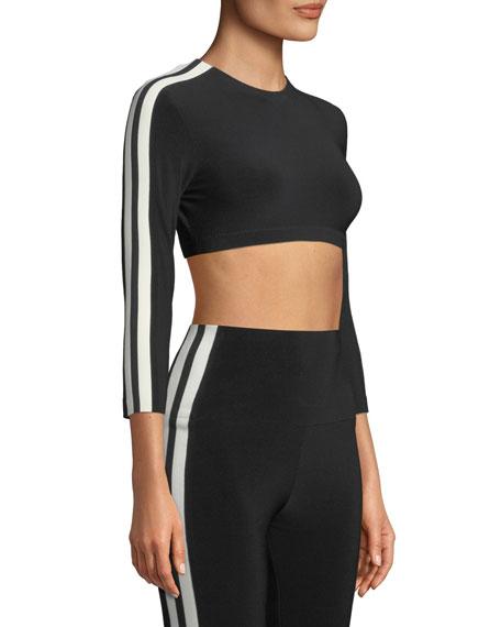 Side-Stripe 3/4-Sleeve Crop Top