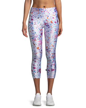 fc9454e7d1493 Terez Tall Band Paint Splatter Printed Capri Leggings