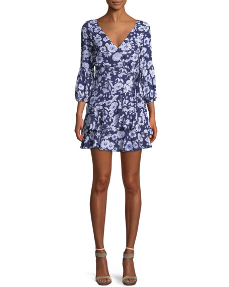 Casimira Floral-Print Flounce Dress