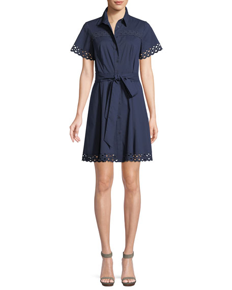 IRENE SHIRT DRESS W/ EYELET TRIM