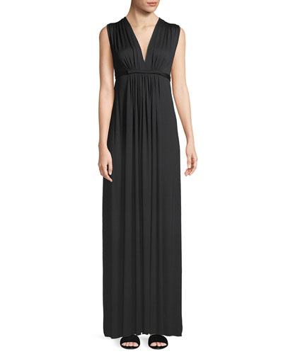 Long Sleeveless Empire-Waist Caftan Dress