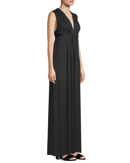 Long Sleeveless Empire-Waist Caftan Dress, Plus Size