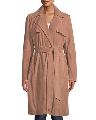 Suede Wrap Duster Coat